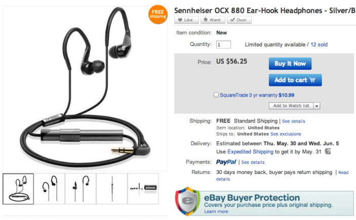 Sennheiser OCX 880 Black Ear-Hook Headphones-02