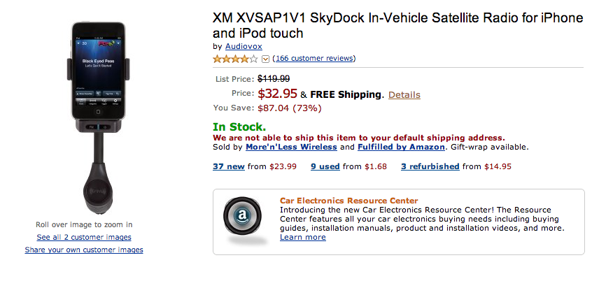 Free ship XVSAP1V1 NEW XM Radio SkyDock for Apple iPhone and Apple iPod Touch