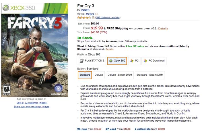 Far Cry 3-sale-Xbox 360-Amazon