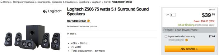 Logitech Z506 75 watts 5.1-Surround Sound Speakers-sale-refurb