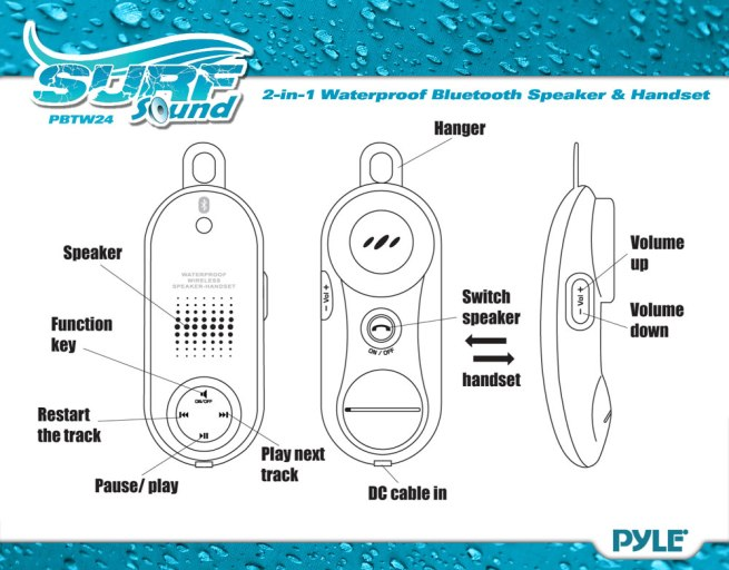 Surf Sound Talk Waterproof Bluetooth Speaker  U0026 Handset For
