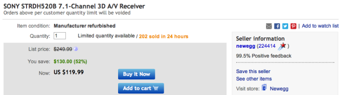 newegg-ebay-sony-receiver-deal
