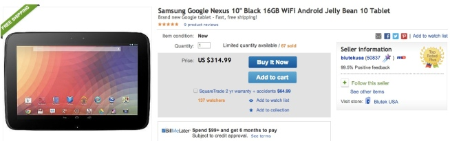 Samsung-Google-Nexus-10%22 Black-16GB-WiFi-Android-Jelly-Bean-10-Tablets