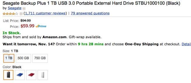 Seagate Backup Plus 1TB USB 3 0 portable hard drive $60 shipped (Reg