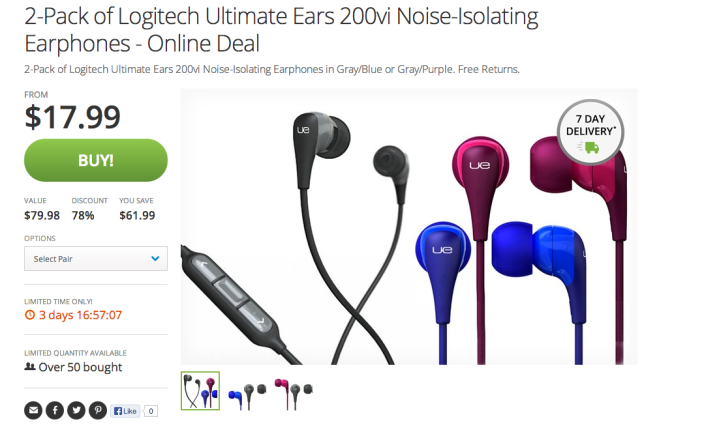 two sets-Logitech-Ultimate Ears-200vi-Noise-Isolating-Earphones-shipped-sale-05