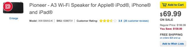 Pioneer-A3-Wi-Fi-Speaker-Apple- iPod-iPhone