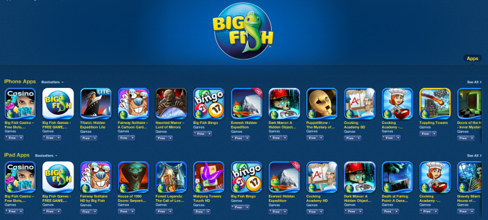 Big Fish Game -Sale-iOS-home page
