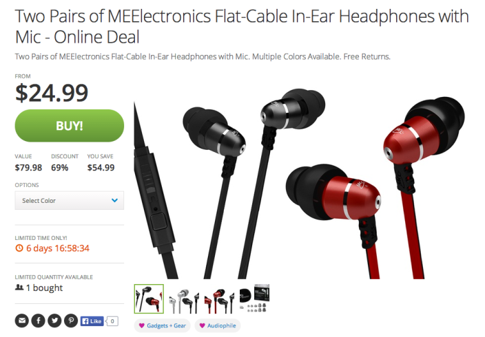 MEElectronics M9P Flat Cable In-Ear Headphones-mic-remote-sale-03