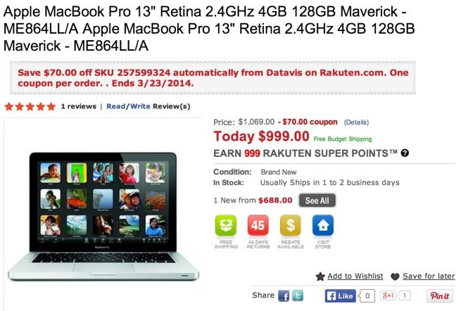Apple MacBook Pro 13%22 Retina 2.4GHz 4GB 128GB Maverick - ME864LL:A Apple MacBook Pro 13%22 Retina 2.4GHz 4GB 128GB Maverick - ME864LL:A