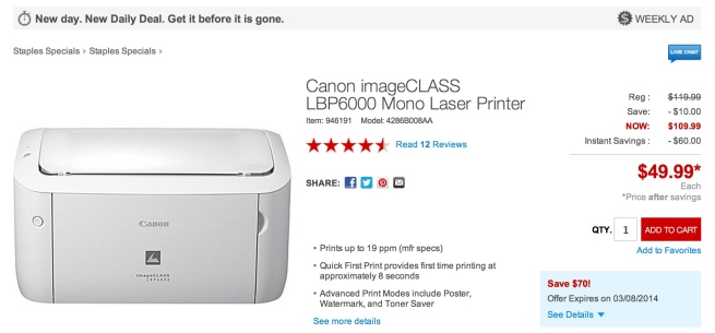 Canon-imageCLASS-LBP6000-Compact-Laser-Printer-at-Staples