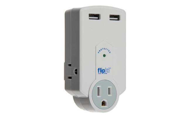 Ideative Flipit! Travel Surge Protector with 3 AC Outlets, 2 USB Charger Ports (1.5A), 612k Joules Protection and Folding AC Plug - Safely Charge Up to 5 Devices Simultaneously