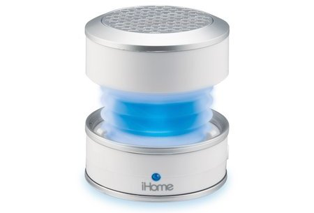 iHome iHM61 GlowTunes LED Color Changing Portable Mini Speaker with 3.5mm Auxillary Jack, Built-in Amplifier and Collapsible Design