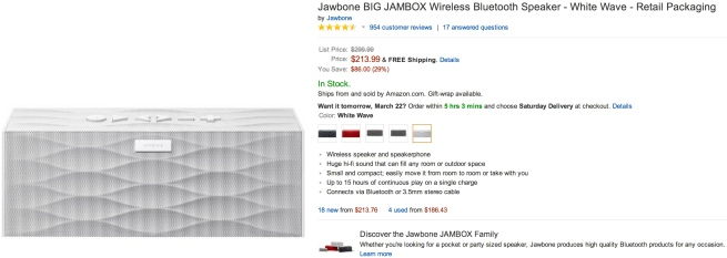 Jawbone BIG JAMBOX Wireless Bluetooth Speaker $210 shipped