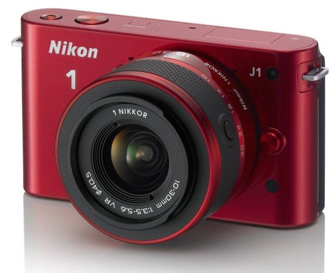 Nikon 1 J1 SLR Red Digital Camera w: 10-30mm VR Lens