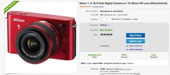 Nikon 1 J1 SLR Red Digital Camera