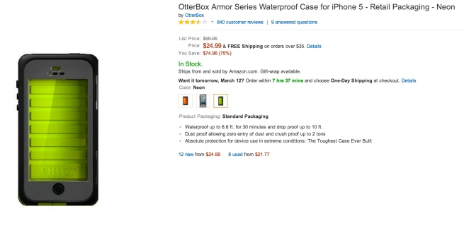 OtterBox Armor Series Waterproof Case for iPhone 5 - Retail Packaging - Neon