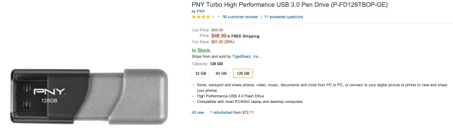 PNY Turbo High Performance USB 3.0 Pen Drive (P-FD128TBOP-GE)