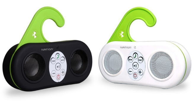 Waterproof Bluetooth Shower Speaker by Ivation w: Speakerphone Function & 25 Hour Battery Life