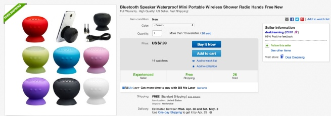 Bluetooth Speaker Waterproof Mini Portable Wireless Shower Radio Hands Free shower