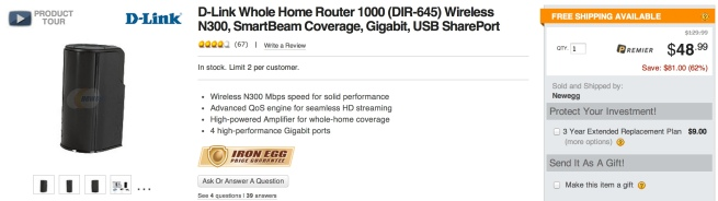 D-Link Whole Home Router 1000 (DIR-645) Wireless N300, SmartBeam Coverage, Gigabit