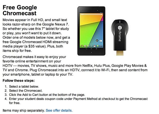 Free Google Chromecast when you purchase a Nexus 7