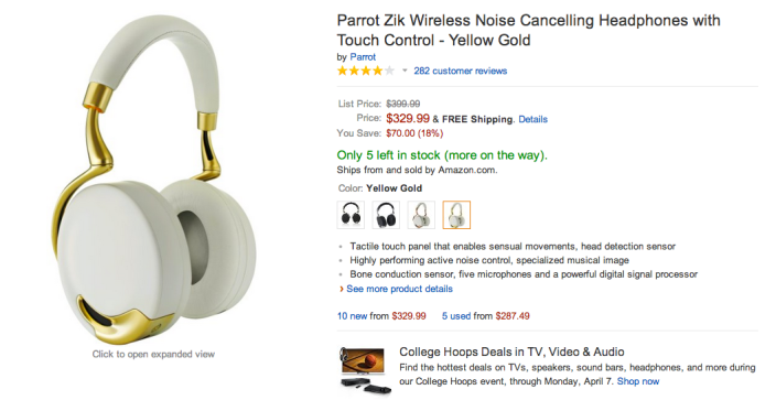 Parrot Zik Wireless Noise Cancelling Headphones-Touch Control (White:Gold)-sale-02