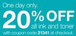 Staples 20 percent off ink and toner