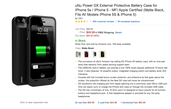 uNu Power DX External Protective Battery Case for iPhone-5S- iPhone 5-sale-03