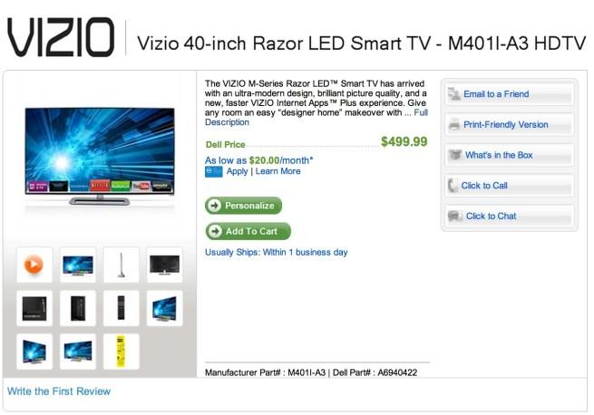 Vizio Razor 40%22 120Hz 1080p WiFi LED-Backlit HD Television