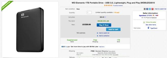 WD Elements 1TB Portable Drive