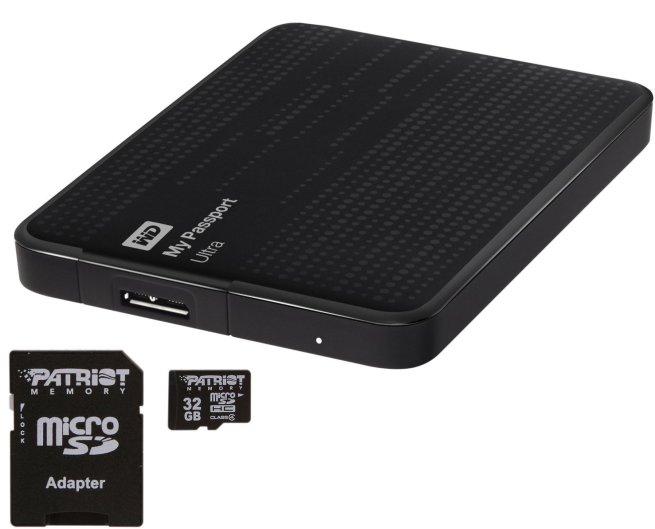 Western Digital My Passport Ultra 1TB USB 3.0 HD Black + Patriot 32g Micro SD