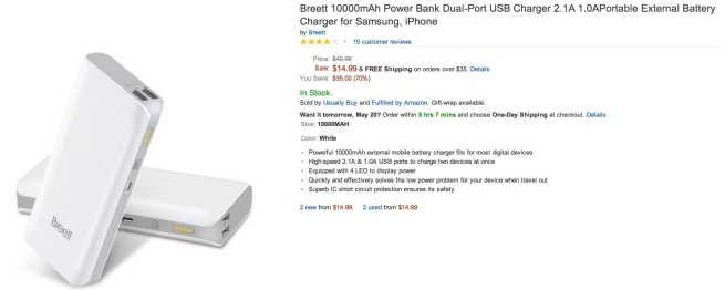 Breett 10000mAh Power Bank Dual-Port USB Charger 2.1A 1.0APortable External Battery Charger for Samsung