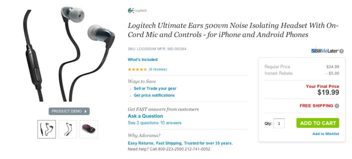 Logitech UE 500vm Noise Isolating Headset-sale-02