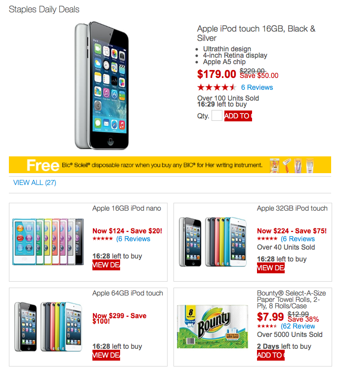 iPod touch (newest version) up to 25% off: 16GB $179, 32GB $224, 64GB $299