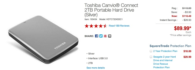 Toshiba Canvio® Connect 2TB Portable Hard Drive price