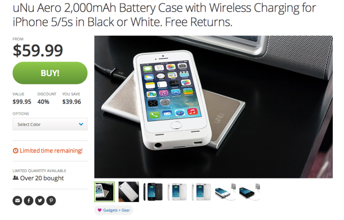 uNu Aero 2,000mAh iPhone 5:5s battery case with wireless charging pad-sale-03