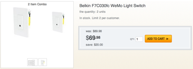 2 Pack- Belkin WeMo Light Switch
