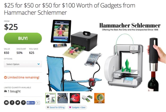 $50 for $25 or $100 for $50 worth of credit for Hammacher Schlemmer.com-sale-gift cards-01