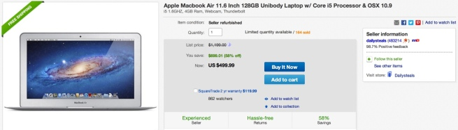 Apple Macbook Air 11.6 Inch 128GB Unibody Laptop w: Core i5 Processor