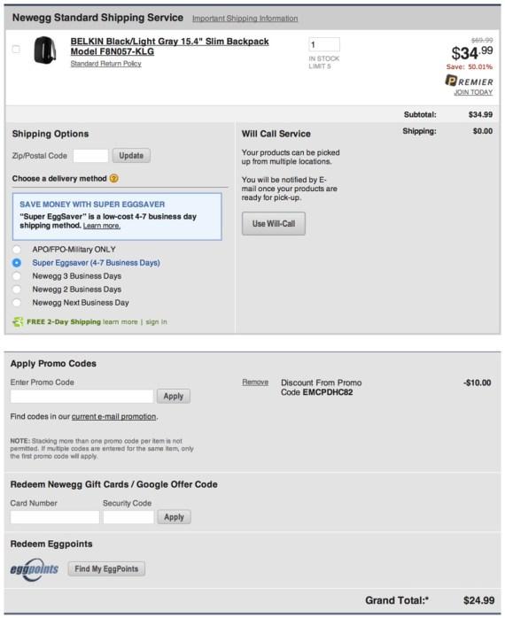 BELKIN Black:Light Gray 15.4%22 Slim Backpack Model F8N057-KLG