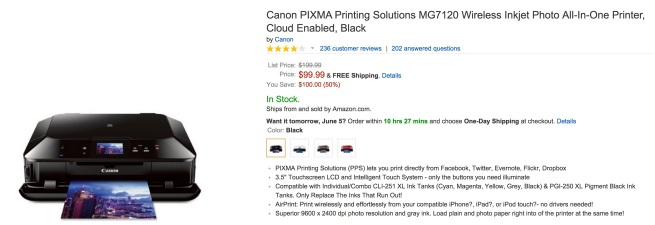 Canon PIXMA Printing Solutions MG7120 Wireless Inkjet Photo All-In-One Printer, Cloud