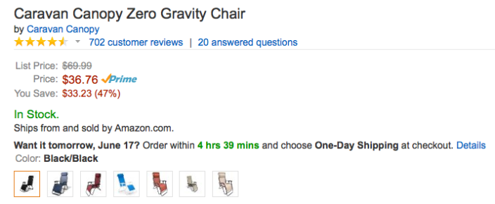 caravan-canopy-zero-gravity-amazon-deal