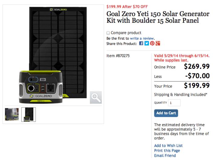 Goal Zero Yeti 150 Solar Generator and a Goal Zero Boulder 15M Solar Panel-sale-02