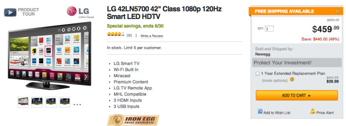 LG Electronics 42-Inch 1080p, 120Hz LED-LCD HDTV (42LN5700, 2013 Model)-sale-01