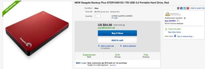 NEW Seagate Backup Plus STDR1000103 1TB USB 3.0 Portable Hard Drive