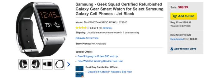 Samsung refurb Galaxy Gear Smartwatch