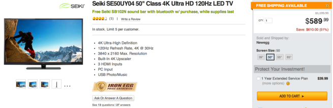 Seiki 50%22 UHDTV 4k NEwegg