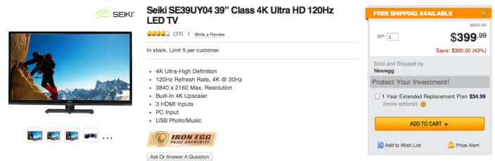 "Seiki SE39UY04 39"" Class 4K Ultra HD 120Hz LED TV-sale-02"