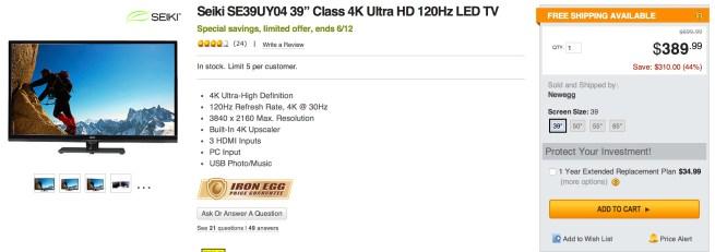 "Seiki 39"" Class 4K Ultra HD 120Hz LED TV $390 shipped (Reg  $700"