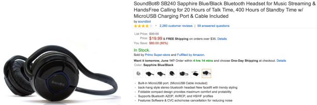SoundBot SB240 Sapphire Blue:Black Bluetooth Headset for Music Streaming & HandsFree Calling